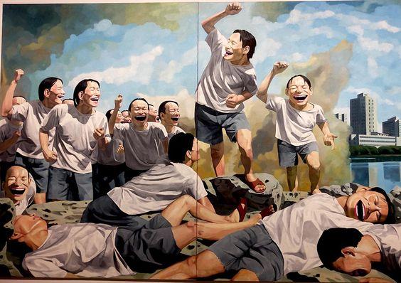 Παρέα Minjun Ακτιβιστών που γελούν καθώς μαθαίνουν πως ο Κούλης φορολόγησε τον Β.Βαρδινογιαννη.