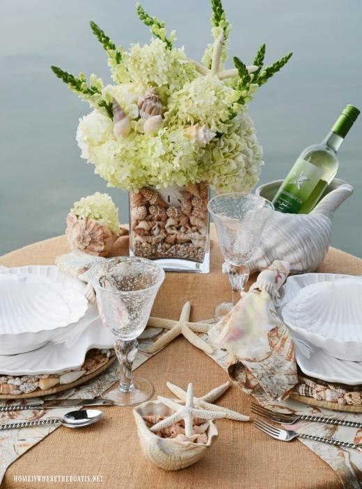 Neutral Seashell Beach Theme Tabletop Decor Idea