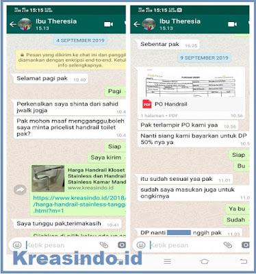 Handrail Klset Stainless pesanan PT Koba Pangestu Dikirim ke Yogyakarta