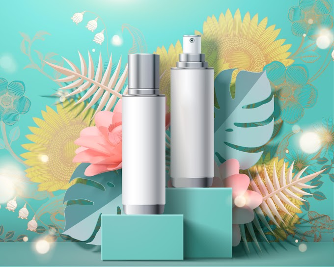 Cosmetic set ads and flowers background template free vector