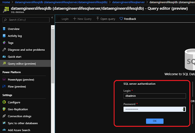 Logging into Query Editor Portal in Azure SQL Database