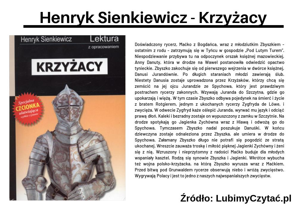 Henryk Sienkiewicz - Krzyżacy, Topki, Marzenie Literackie