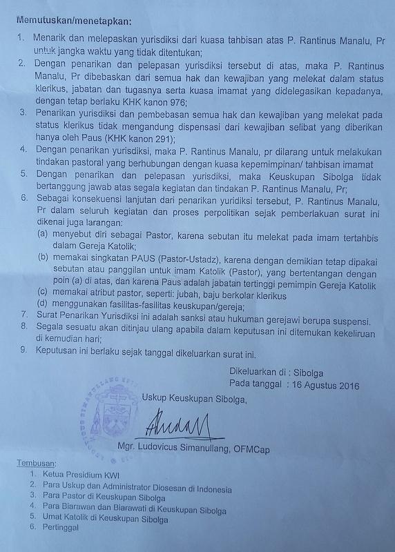 Walau Dilarang Uskup, Pastor Rantinus Tetap Gunakan Gelar 'Pastor' di Pilkada Tapteng
