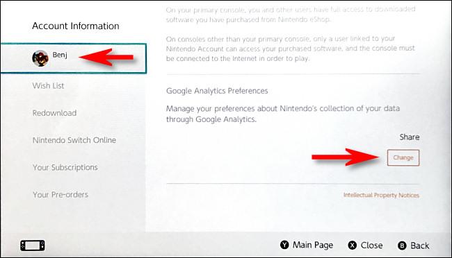 """في شاشة معلومات الحساب ، مرر لأسفل إلى أسفل الصفحة إلى قسم Google Analytics وانقر على """"تغيير""""."""
