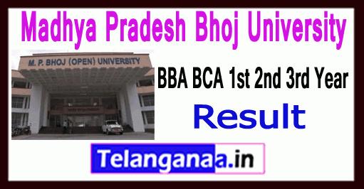 Madhya Pradesh Bhoj University BBA BCA 1st 2nd 3rd Year Result