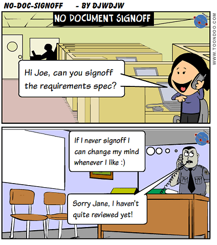 Project Manager can't achieve document signoff - what options?
