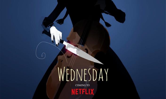 Imagem de capa: fundo azul-marinho com a silhueta escura de Wandinha Addams, uma garota em um vestido e com os cabelo repartido em duas tranças segurando em uma mão um violão celo e na outra uma faca, contra as cordas do instrumento e abaixo o título Wednesday em fonte branca, como que escrita em giz.