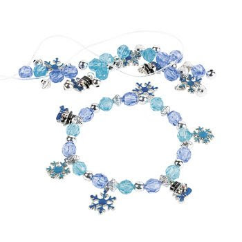 Beaded snowflake charm bracelet for your Girl Scout winter meeting