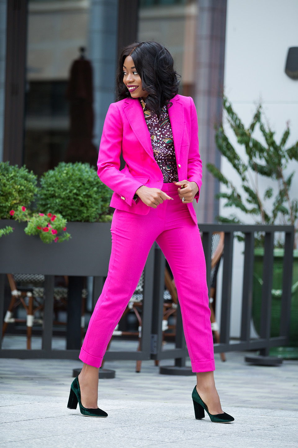 jcrew pink suit, velvet pumps, www.jadore-fashion.com