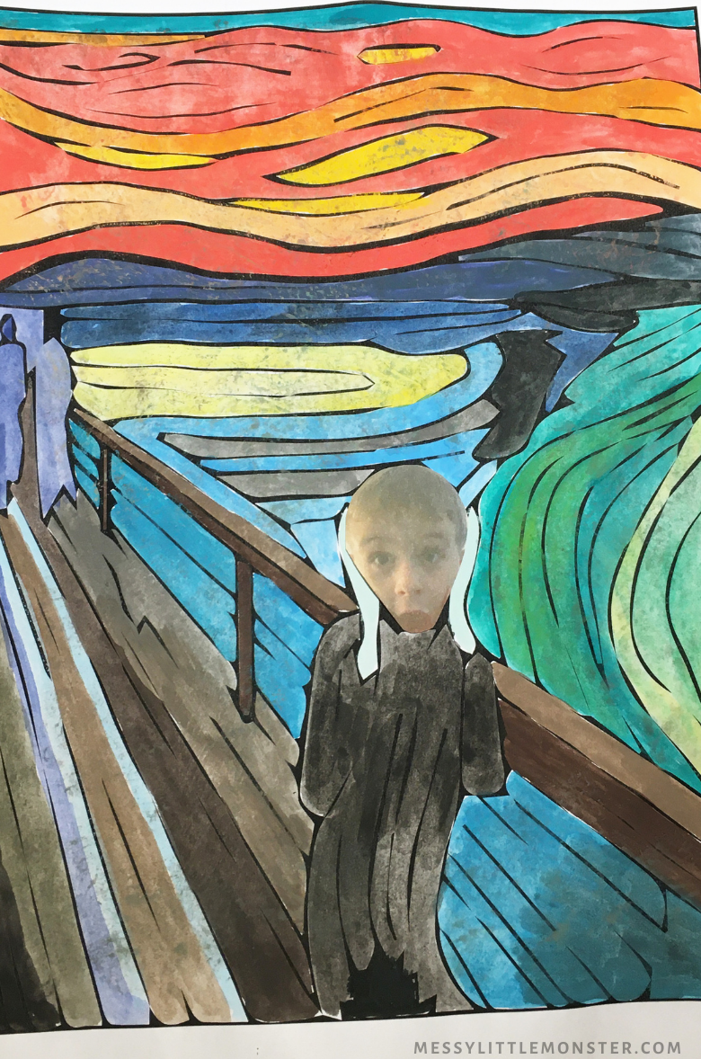 The scream painting for kids with photograph