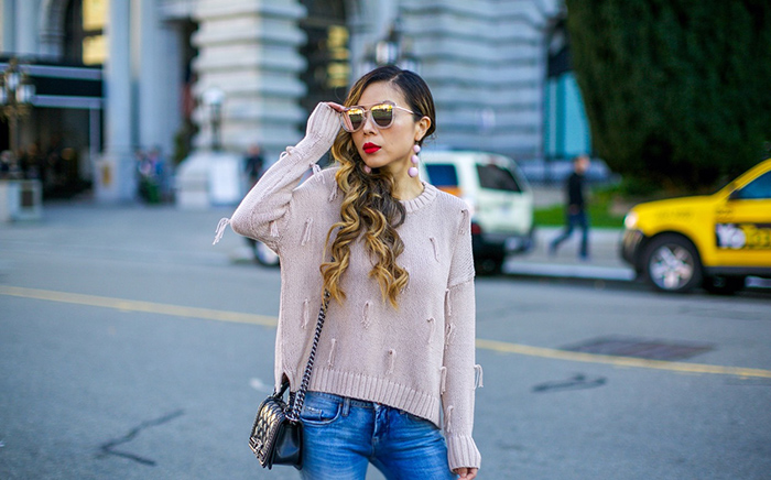 madewell tassel pullover, tassel pullover, baublebar crispin drops, baublebar earrings, blank nyc jeans, ripped jean, christian louboutin so kate pumps, quay sunglasses, chanel boy bag, san francisco street style, san francisco fashion blog, spring style