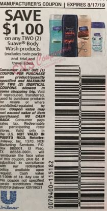 "$1.00/2 Suave Bodywash Coupon from ""RMN"" insert week of 7/28/19."