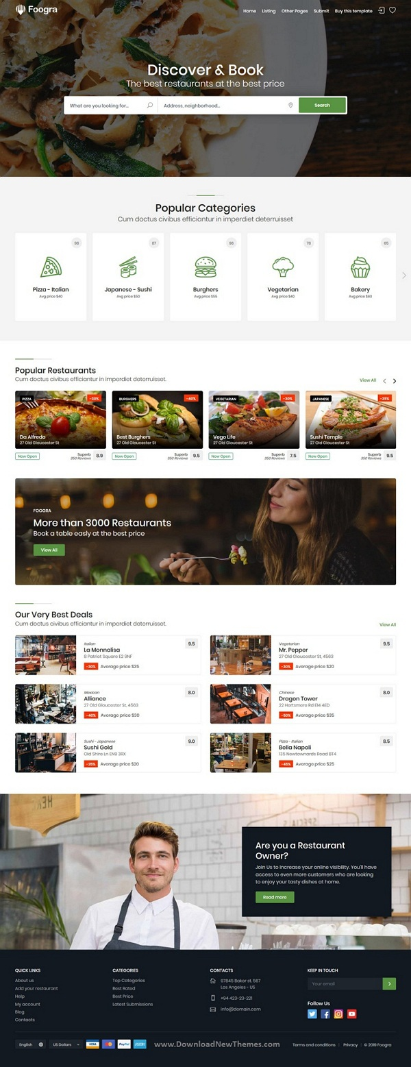 Restaurants Directory & Listings Template