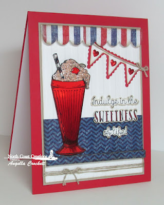 NCC Ice Cream Shoppe, ODBD Patriotic Paper Collection, ODBD Custom Window Shutter and Awning Dies, ODBD Custom Pennant Row Dies, ODBD Custom Clouds and Raindrops Dies, Card Designer Angie Crockett