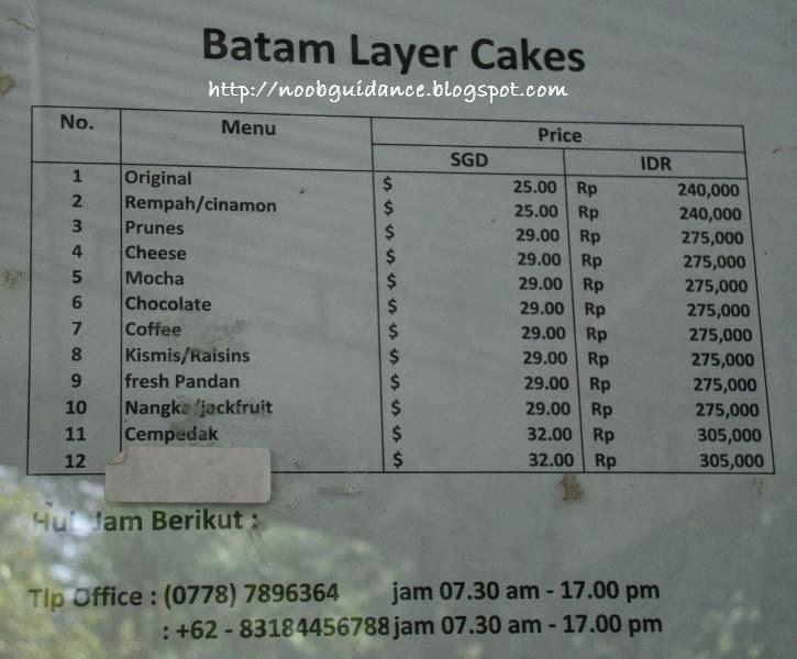Batam Layer Cake Price