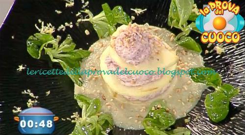 Millefoglie di mela e carne salada su crema di carciofi e nocciole ricetta Rossi da Prova del Cuoco