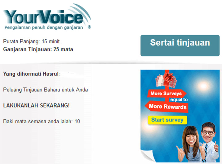 Mata Ganjaran Menarik  Jawab Survey Online Your Voice