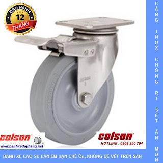 Bánh xe cao su Performa, càng bánh xe inox xoay khóa chịu tải (90 - 136 kg)  www.banhxedayhang.net