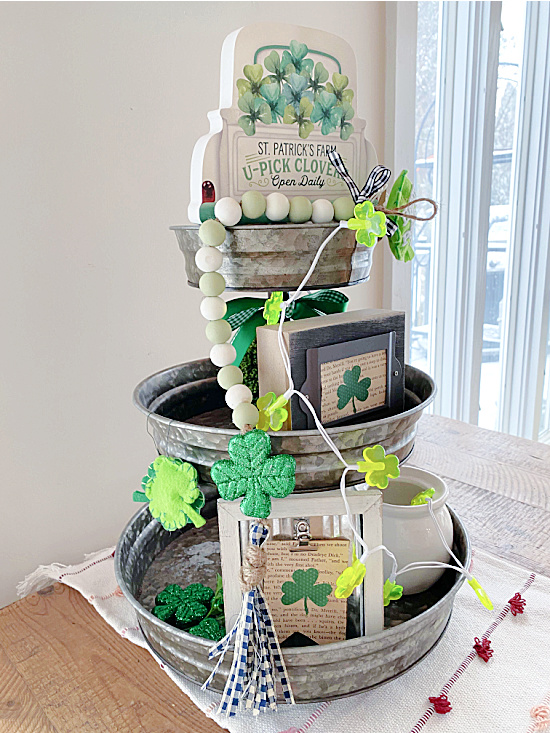 tiered tray filled with St. Patrick's Day items