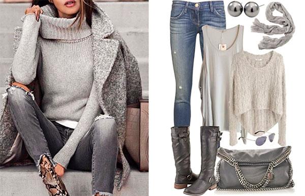 свитер, мода, осень, серый