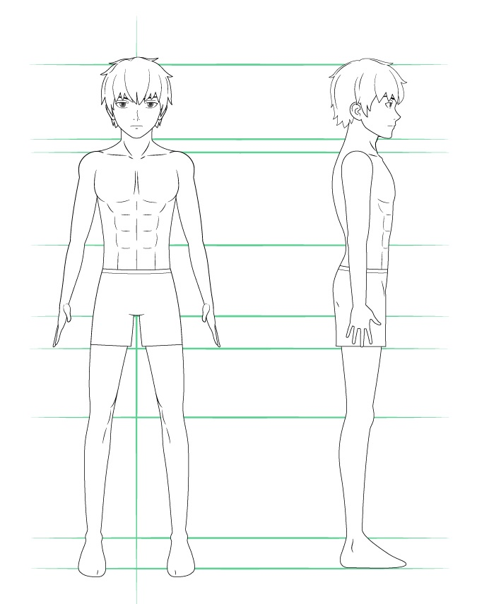 Menggambar celana pendek pria anime