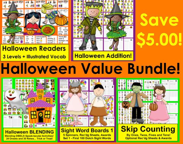 https://www.teacherspayteachers.com/Product/Halloween-Activities-BundleReaders-Sight-Words-Adding-Blending-SkipCounting-1439230