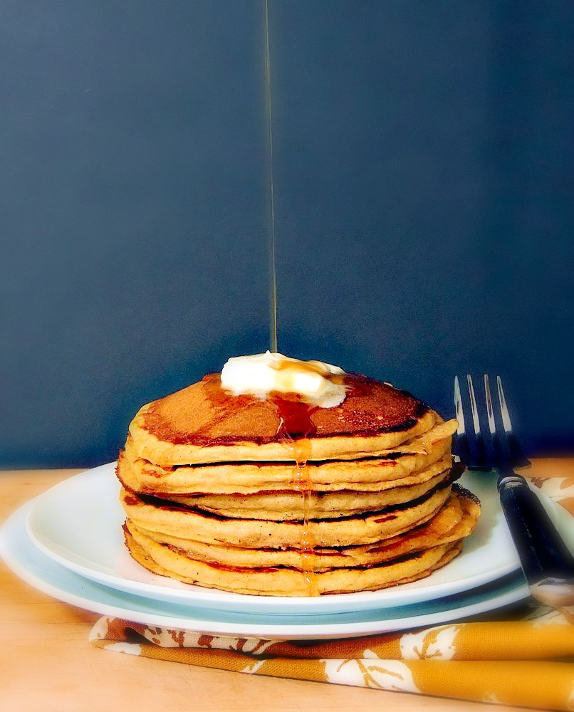 Easy Pumpkin Pie Pancakes - One bite of these pumpkin pancakes and you'll think you're having dessert for breakfast! From www.bobbiskozykitchen.com