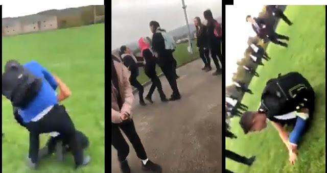 بالفيديو: اعتداء عنصري على لاجئ سوري وشقيقته في احدى المدارس البريطانية.