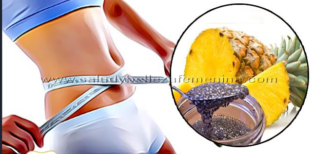 Bebida de piña y chía para adelgazar, esta bebida  es ideal para bajar de peso de forma saludable.