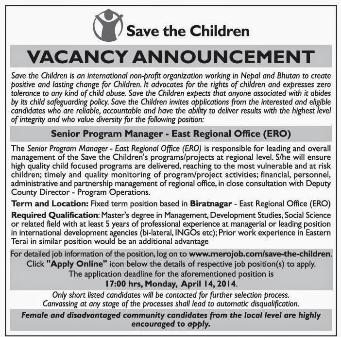 senior program manager job vacancy save the children jobs in nepal. Black Bedroom Furniture Sets. Home Design Ideas