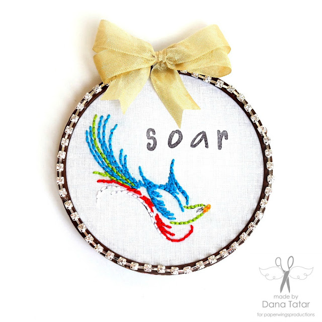 Soar Stamped + Stitched Embroidery Hoop Art by Dana Tatar for Paper Wings Productions