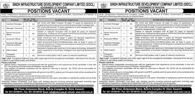 Sindh Infrastructure Development Company Limited SIDCL Jobs 2021 For Accounts Officer,Transport Supervisor & more