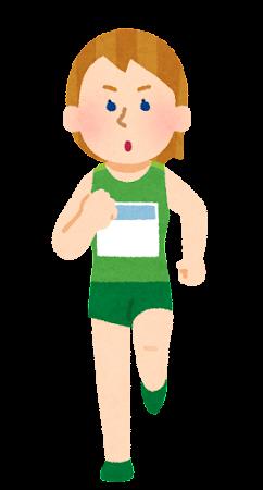 マラソン選手のイラスト(白人女性)
