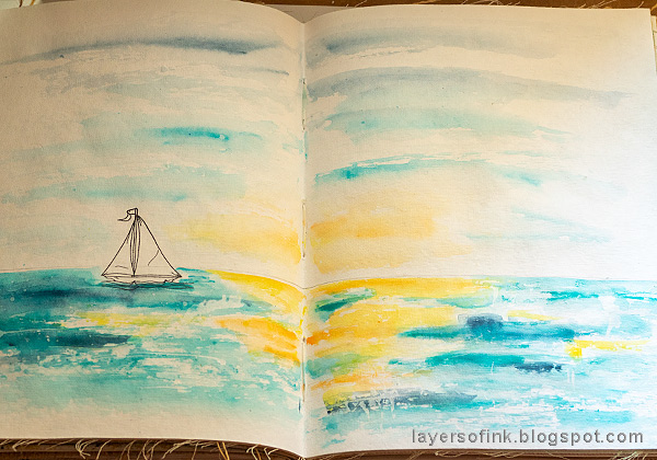 Layers of ink - Ocean Art Journal Page Tutorial by Anna-Karin Evaldsson. Paint with Scribble Sticks.