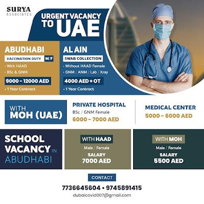 Urgently Required Nurses, Lab Technician & X-Ray Technician to UAE