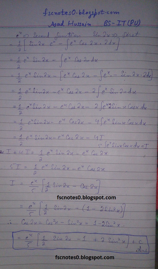 FSc ICS Notes Math Part 2 Chapter 3 Integration Exercise 3.4 Question 1 Asad Hussain 8