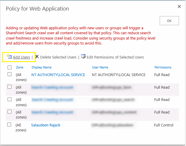add web application policy in sharepoint