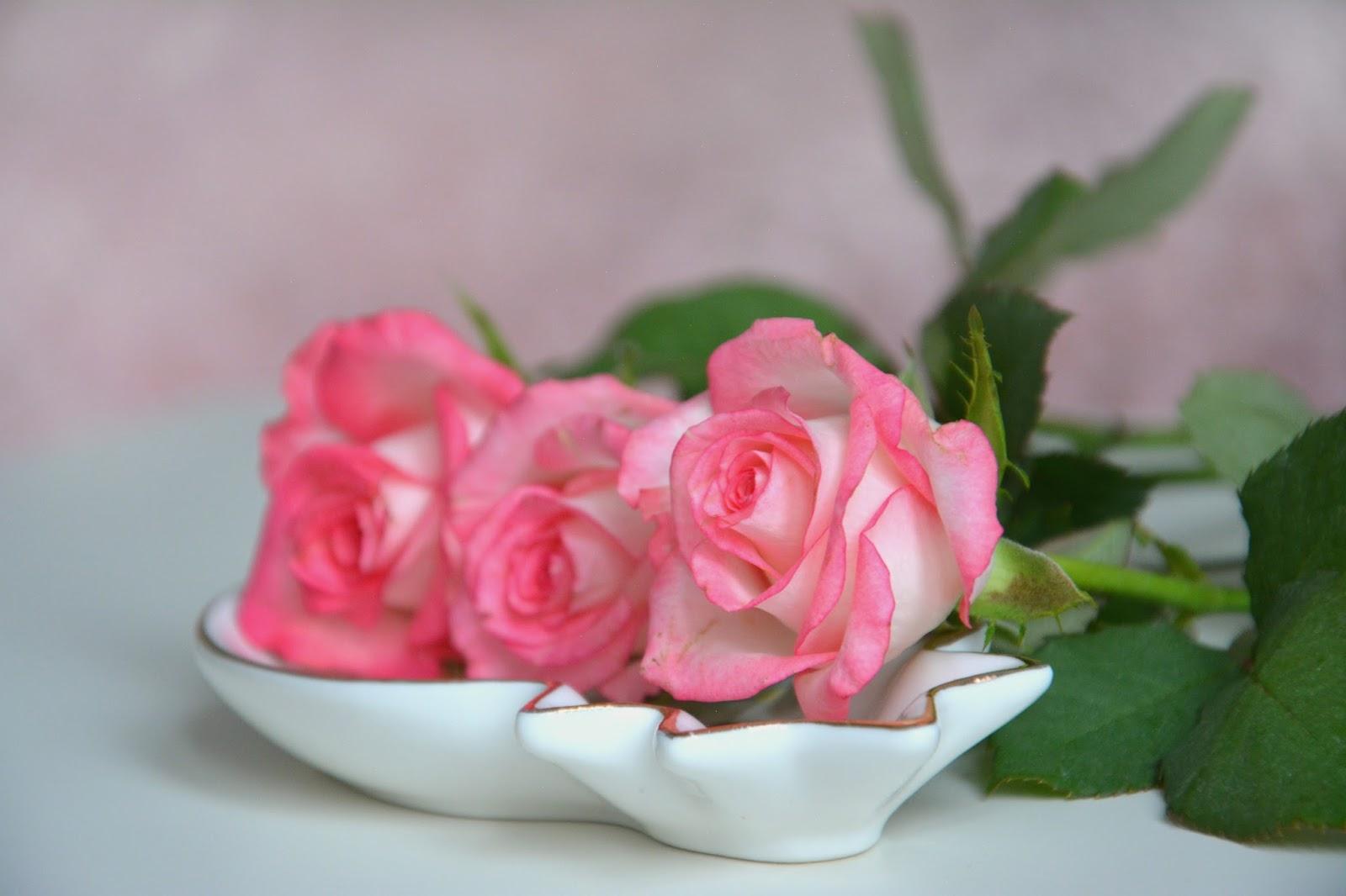 Fresh Pink Roses; Gold Pineapple Dish Maisons Du Monde