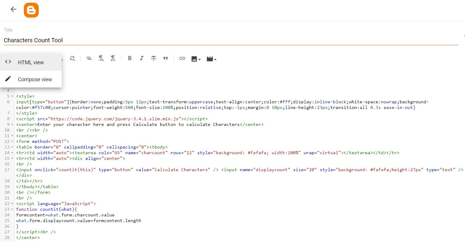 new page switch from Compose to HTML view.