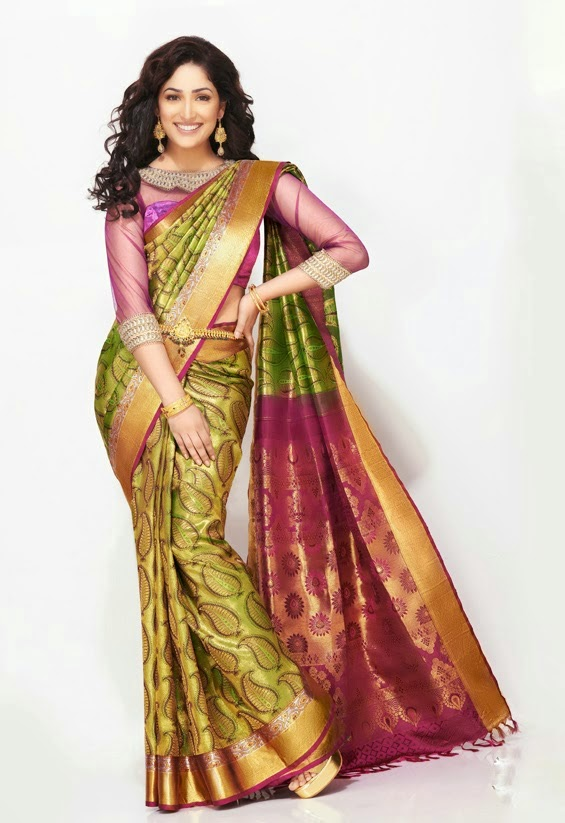Yami Gautam in green silk saree flaunting hour-glass figure