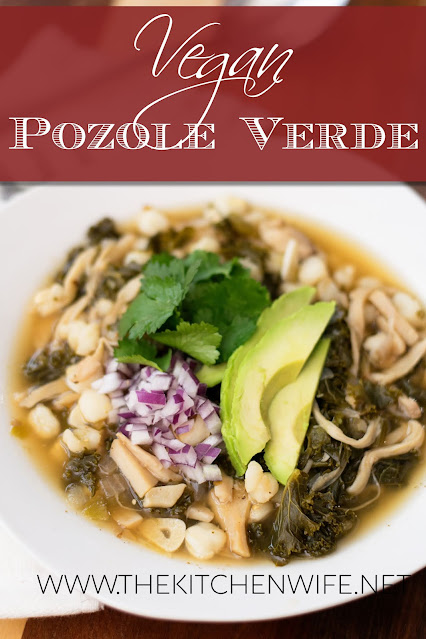 The Easy Vegan Pozole Recipe in a white bowl with the title above.