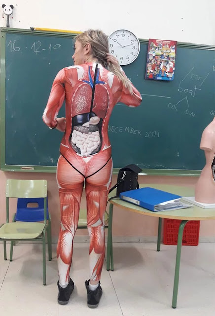 Teacher Gives A Lesson In Anatomy Wearing A Cool Full Body Suite Showing Internal Organs