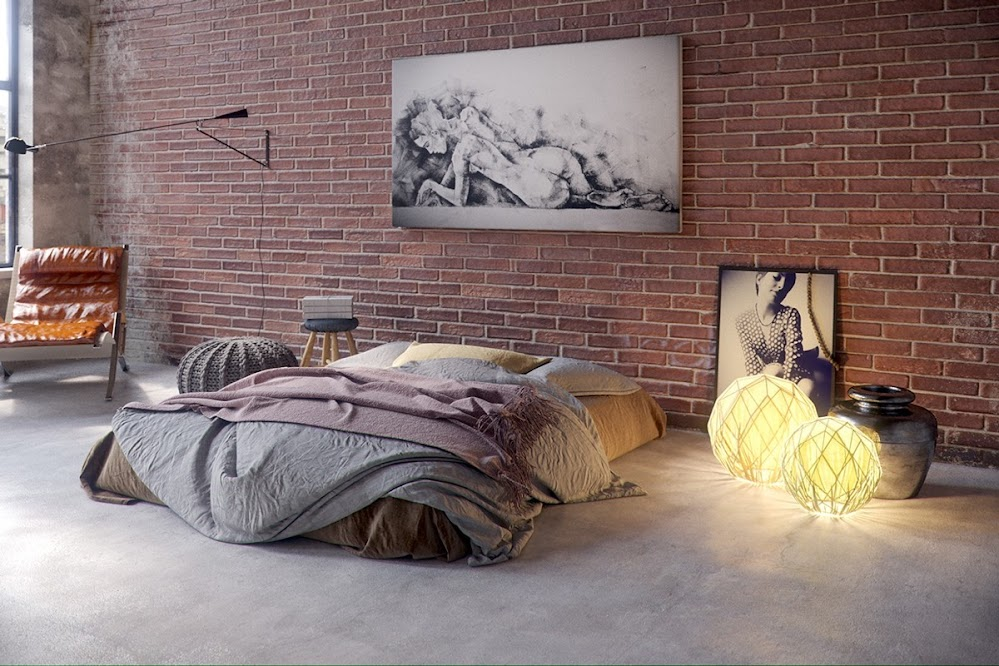 relaxed-industrial-brick-wall-bedroom