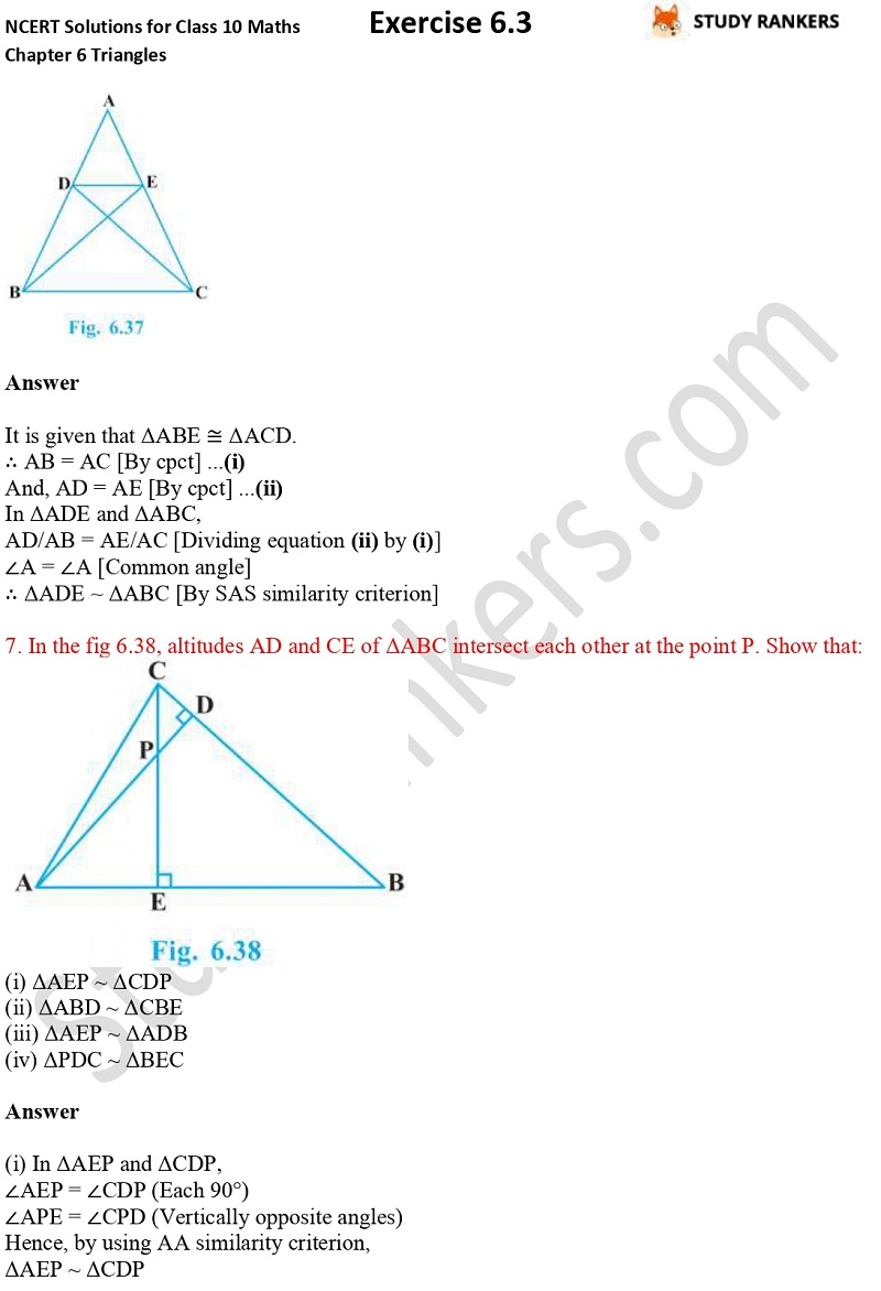 NCERT Solutions for Class 10 Maths Chapter 6 Triangles Exercise 6.3 Part 5