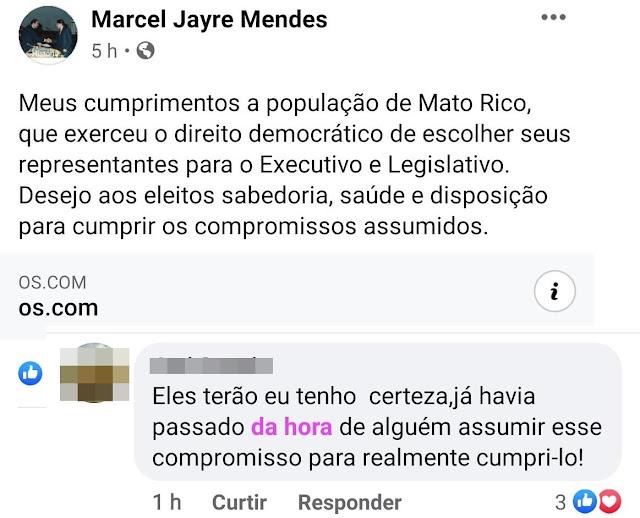 Mato Rico: Enquanto isso nas redes sociais... A postagem do prefeito Marcel e a resposta categórica