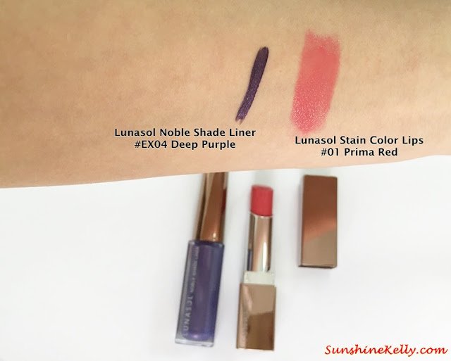 Lunasol Spring 2015, Elegant Purification Makeup, Lunasol, Lunasol Noble Shade Liner, Lunasol Stain Color Lips, Color Swatch