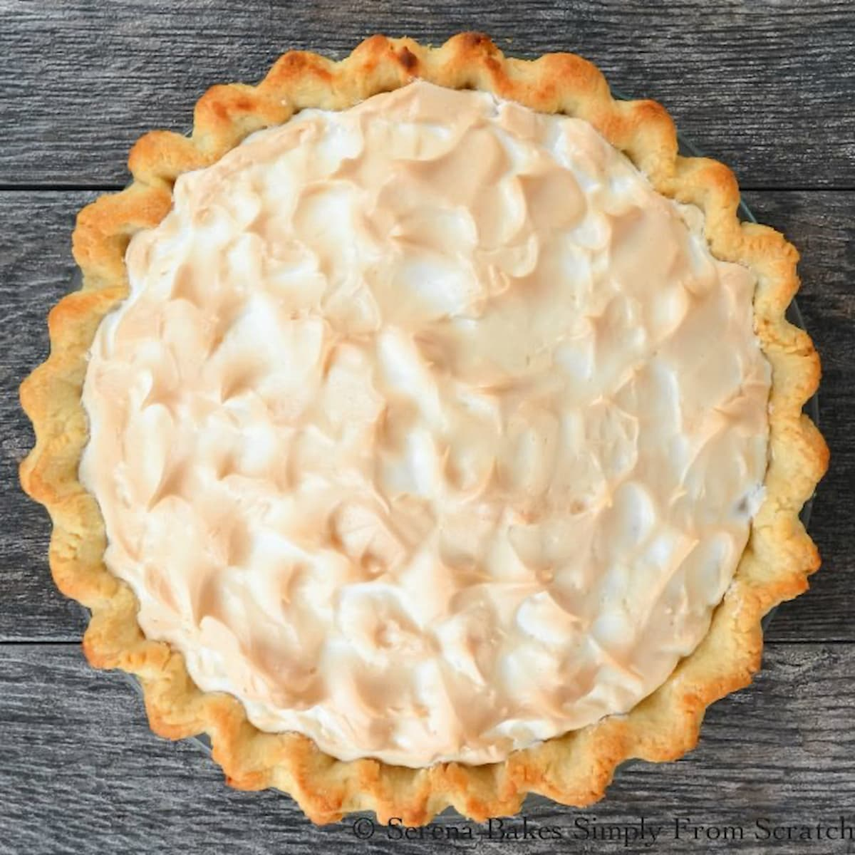 A whole Lemon Meringue Pie topped with Weep Free Meringue and Flaky Pie Crust.