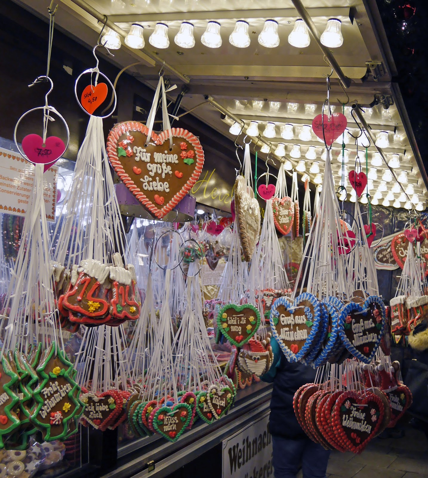 Gingerbread heart cookies at the Munich Christmas Markets