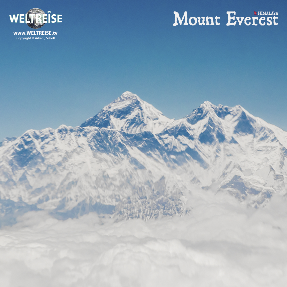 The biggest mountain of the world. Mount Everest in Nepal. World travel on the Himalaya Mountains.