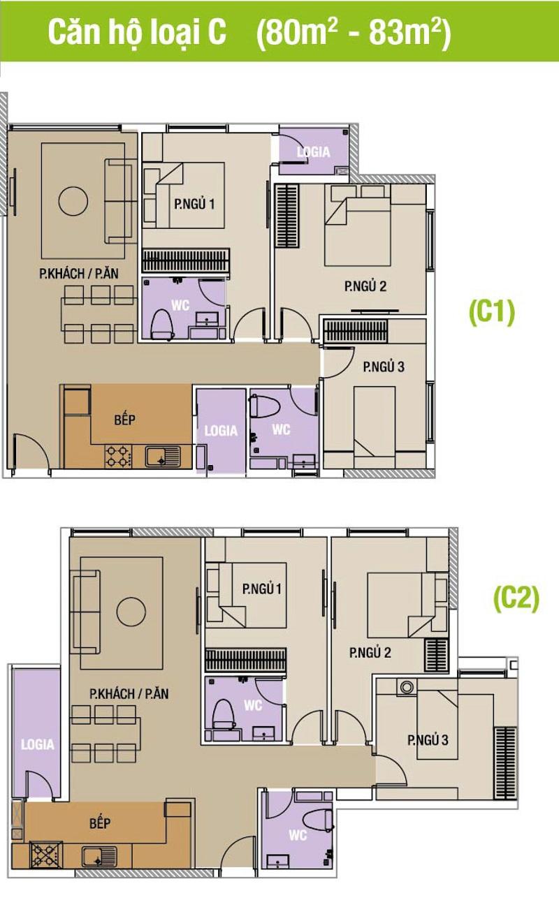 Mặt bằng căn hộ loại C